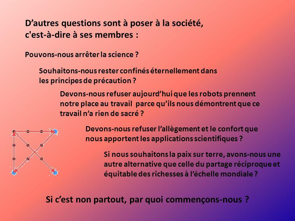 Dautres questions sont à poser à la société, c'est-à-dire à ses membres : Pouvons-nous arrêter la science ? Souhaitons-nous rester confinés éternellem