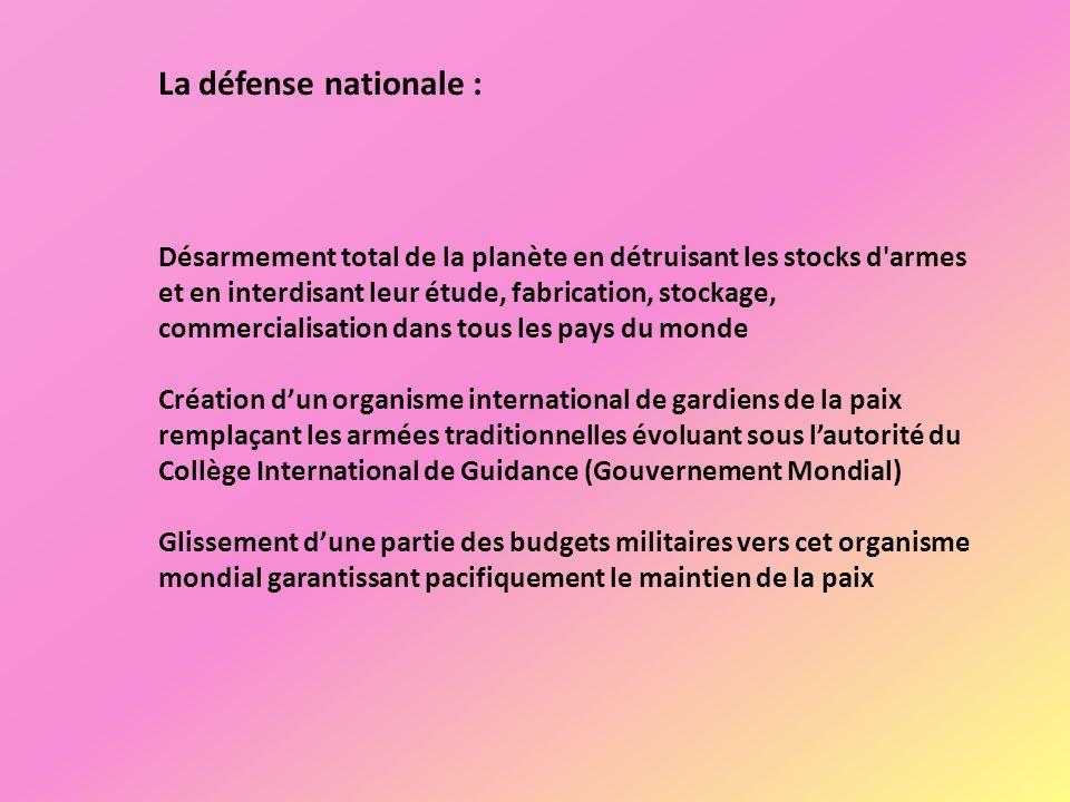La défense nationale : Désarmement total de la planète en détruisant les stocks d'armes et en interdisant leur étude, fabrication, stockage, commercia