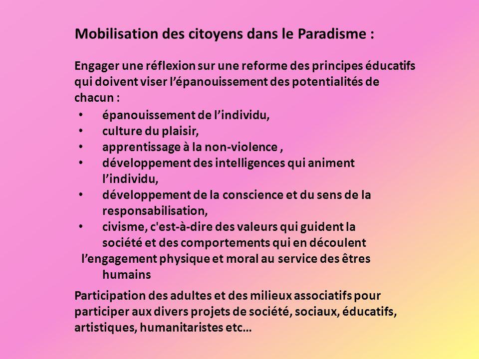 épanouissement de lindividu, culture du plaisir, apprentissage à la non-violence, développement des intelligences qui animent lindividu, développement