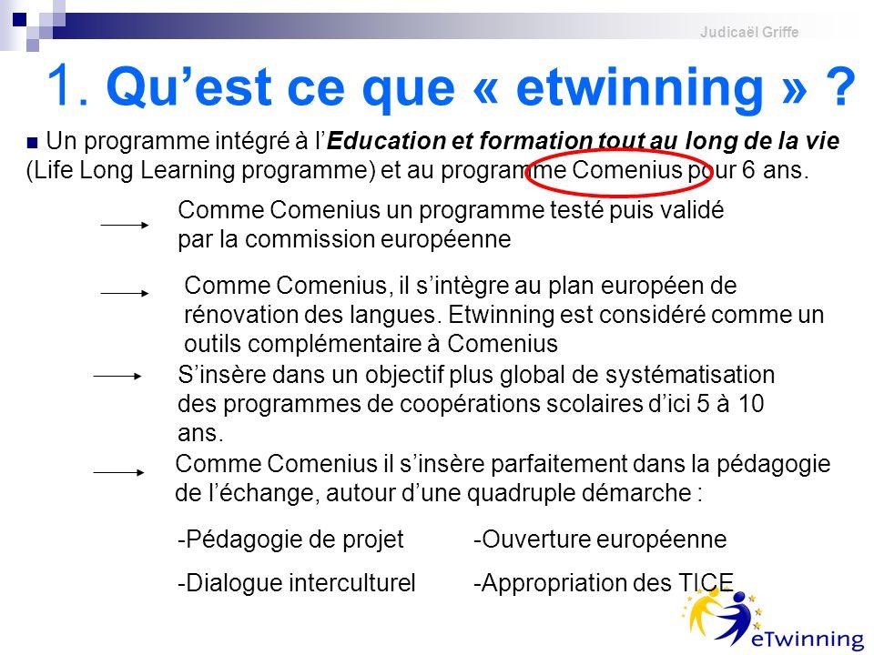 Judicaël Griffe 1. Quest ce que « etwinning » ? Un programme intégré à lEducation et formation tout au long de la vie (Life Long Learning programme) e