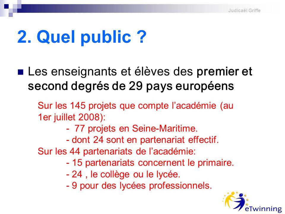 Judicaël Griffe 2. Quel public ? Les enseignants et élèves des premier et second degrés de 29 pays européens Sur les 145 projets que compte lacadémie