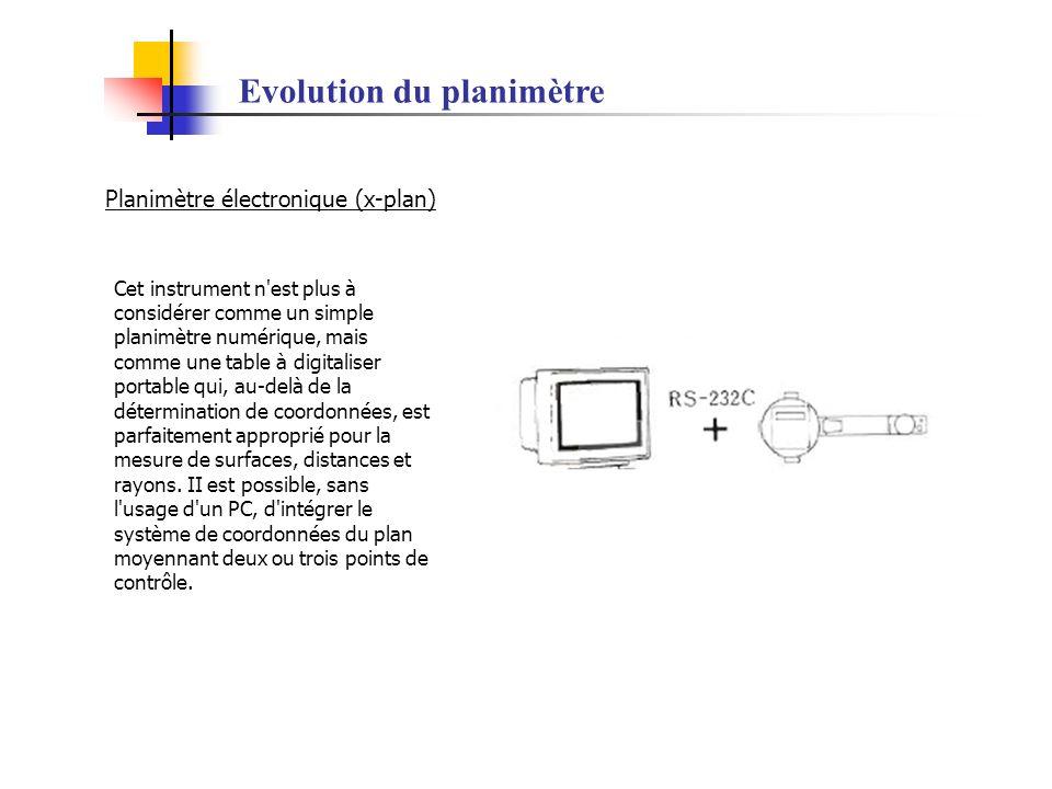 Evolution du planimètre Planimètre électronique (x-plan) Cet instrument n'est plus à considérer comme un simple planimètre numérique, mais comme une t
