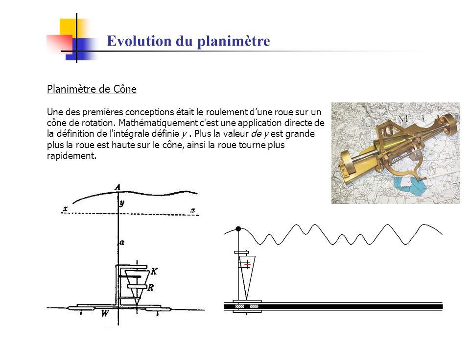 Evolution du planimètre Planimètre de Cône Une des premières conceptions était le roulement dune roue sur un cône de rotation. Mathématiquement c'est
