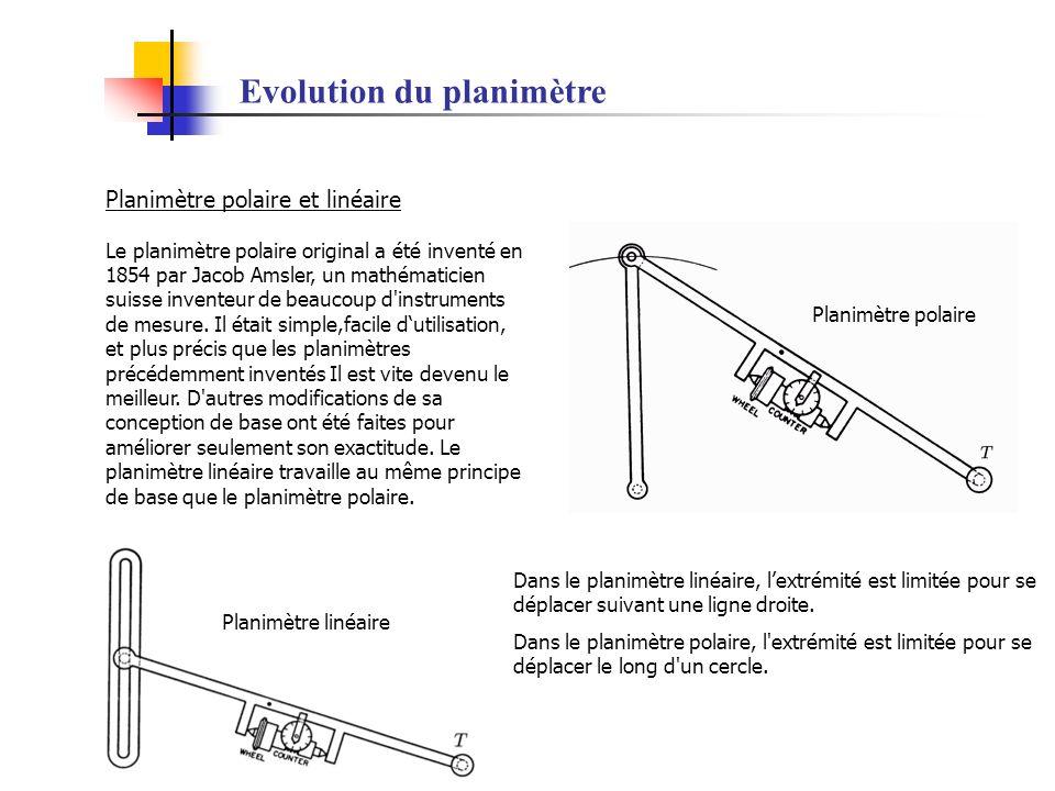 Evolution du planimètre Planimètre polaire et linéaire Le planimètre polaire original a été inventé en 1854 par Jacob Amsler, un mathématicien suisse