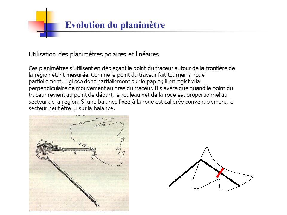 Evolution du planimètre Utilisation des planimètres polaires et linéaires Ces planimètres sutilisent en déplaçant le point du traceur autour de la fro