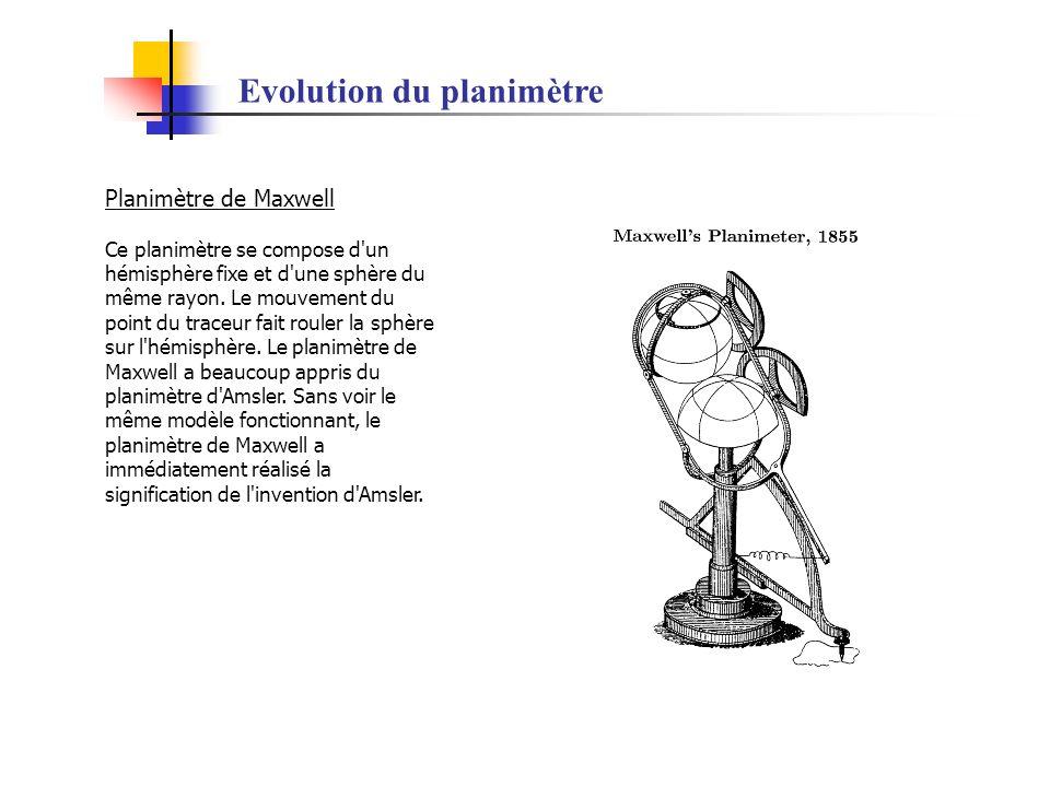 Evolution du planimètre Planimètre de Maxwell Ce planimètre se compose d'un hémisphère fixe et d'une sphère du même rayon. Le mouvement du point du tr