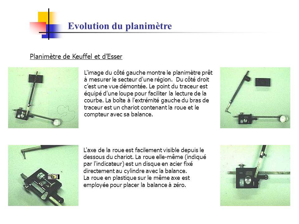 Evolution du planimètre Planimètre de Keuffel et dEsser L'image du côté gauche montre le planimètre prêt à mesurer le secteur d'une région. Du côté dr