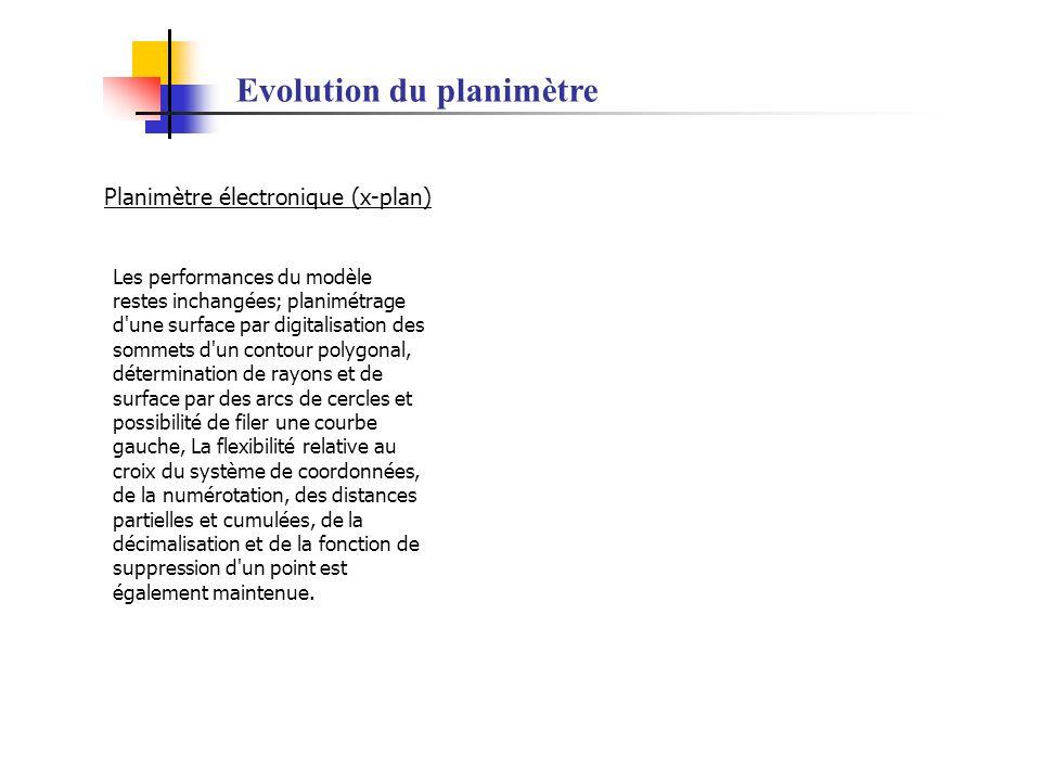 Evolution du planimètre Planimètre électronique (x-plan) Les performances du modèle restes inchangées; planimétrage d'une surface par digitalisation d