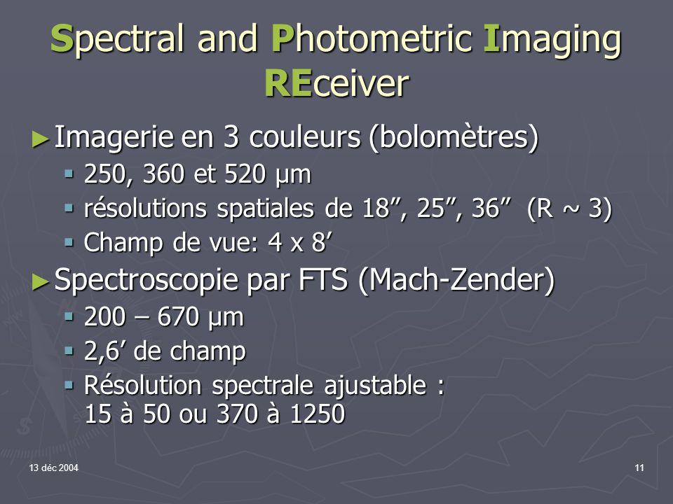 13 déc 200411 Spectral and Photometric Imaging REceiver Imagerie en 3 couleurs (bolomètres) Imagerie en 3 couleurs (bolomètres) 250, 360 et 520 µm 250