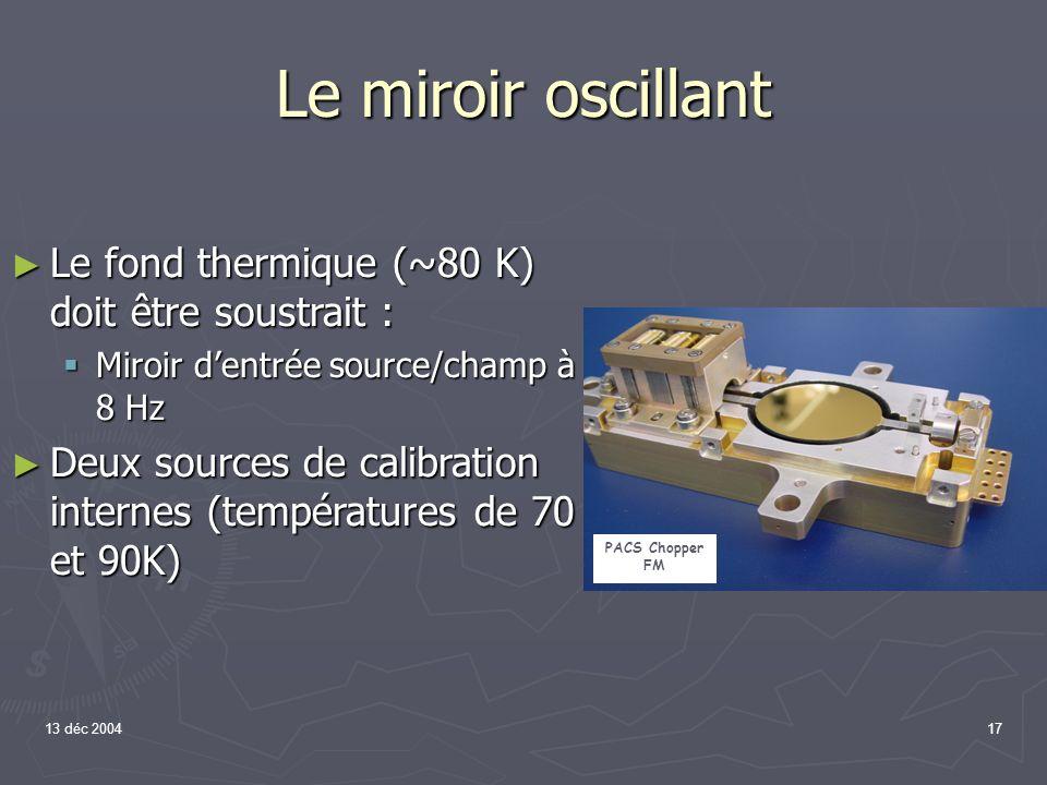 13 déc 200417 Le miroir oscillant Le fond thermique (~80 K) doit être soustrait : Le fond thermique (~80 K) doit être soustrait : Miroir dentrée sourc