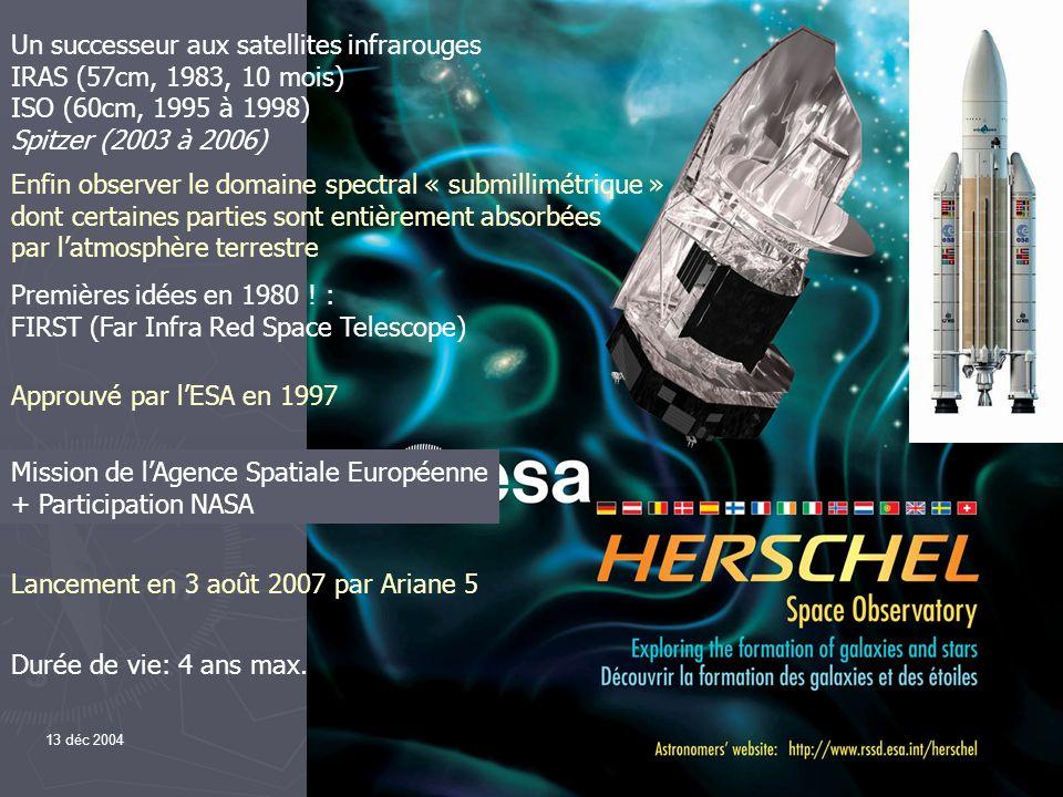 13 déc 20042 Mission de lAgence Spatiale Européenne + Participation NASA Premières idées en 1980 ! : FIRST (Far Infra Red Space Telescope) Approuvé pa