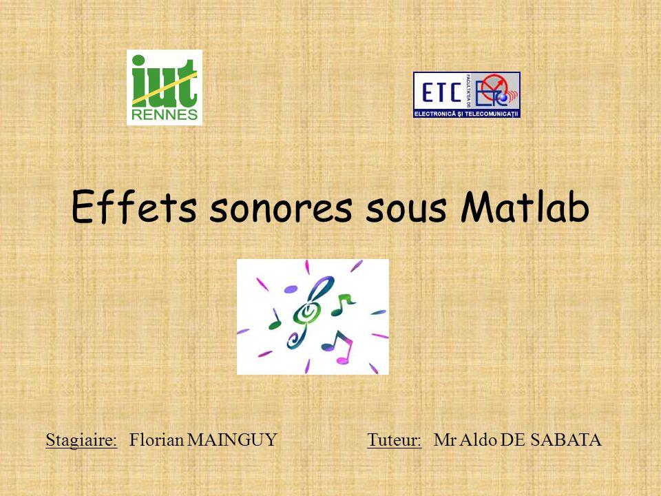 Effets sonores sous Matlab Stagiaire: Florian MAINGUY Tuteur: Mr Aldo DE SABATA