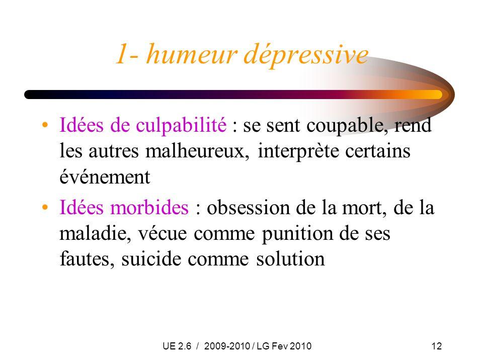 UE 2.6 / 2009-2010 / LG Fev 201012 1- humeur dépressive Idées de culpabilité : se sent coupable, rend les autres malheureux, interprète certains événe