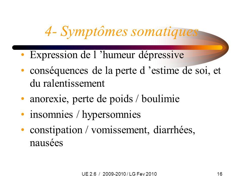 UE 2.6 / 2009-2010 / LG Fev 201016 4- Symptômes somatiques Expression de l humeur dépressive conséquences de la perte d estime de soi, et du ralentiss