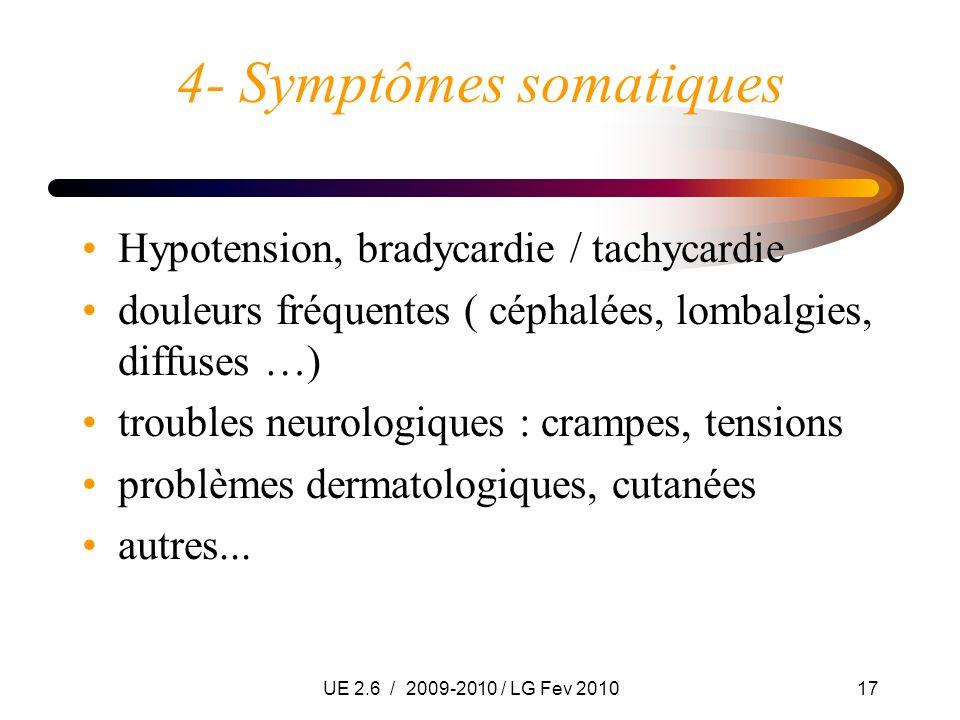 UE 2.6 / 2009-2010 / LG Fev 201017 4- Symptômes somatiques Hypotension, bradycardie / tachycardie douleurs fréquentes ( céphalées, lombalgies, diffuse