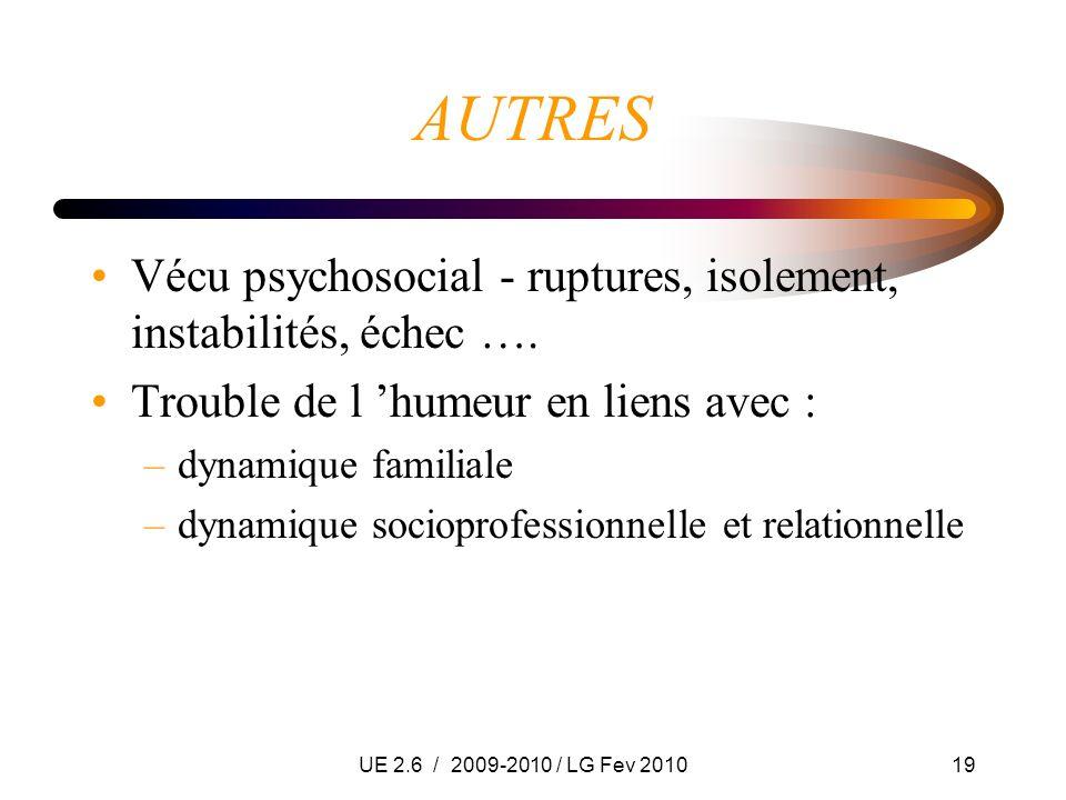 UE 2.6 / 2009-2010 / LG Fev 201019 AUTRES Vécu psychosocial - ruptures, isolement, instabilités, échec …. Trouble de l humeur en liens avec : –dynamiq