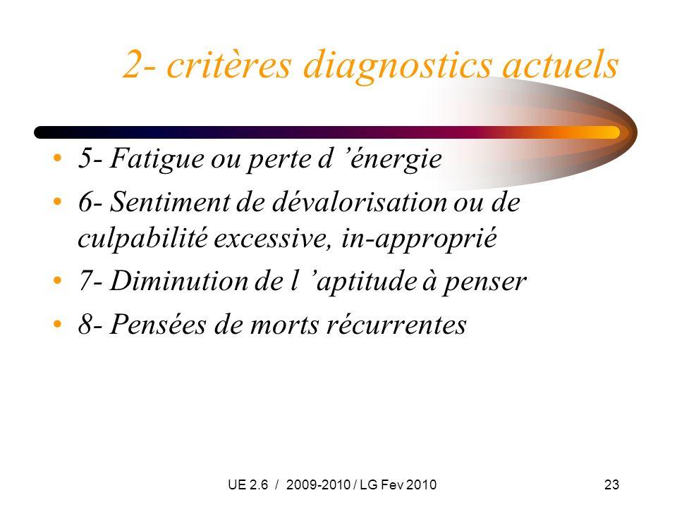 UE 2.6 / 2009-2010 / LG Fev 201023 2- critères diagnostics actuels 5- Fatigue ou perte d énergie 6- Sentiment de dévalorisation ou de culpabilité exce