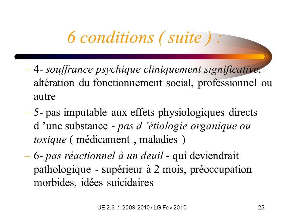 UE 2.6 / 2009-2010 / LG Fev 201025 6 conditions ( suite ) : –4- souffrance psychique cliniquement significative, altération du fonctionnement social,