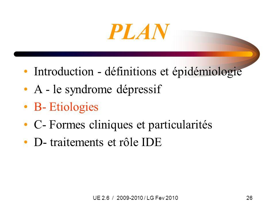 UE 2.6 / 2009-2010 / LG Fev 201026 PLAN Introduction - définitions et épidémiologie A - le syndrome dépressif B- Etiologies C- Formes cliniques et par