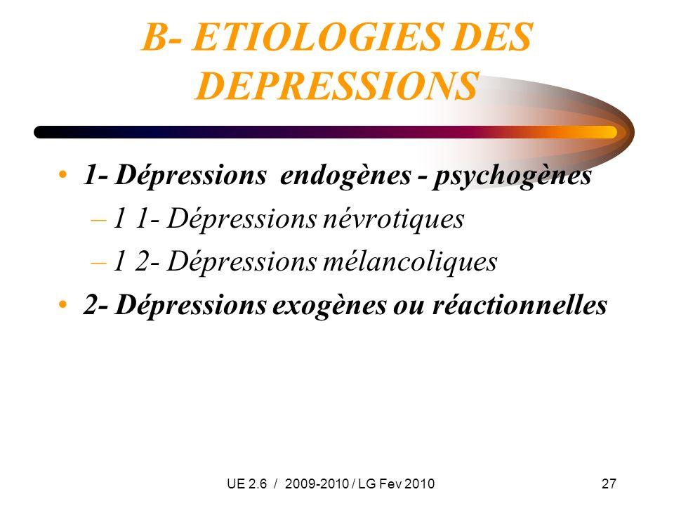 UE 2.6 / 2009-2010 / LG Fev 201027 B- ETIOLOGIES DES DEPRESSIONS 1- Dépressions endogènes - psychogènes –1 1- Dépressions névrotiques –1 2- Dépression