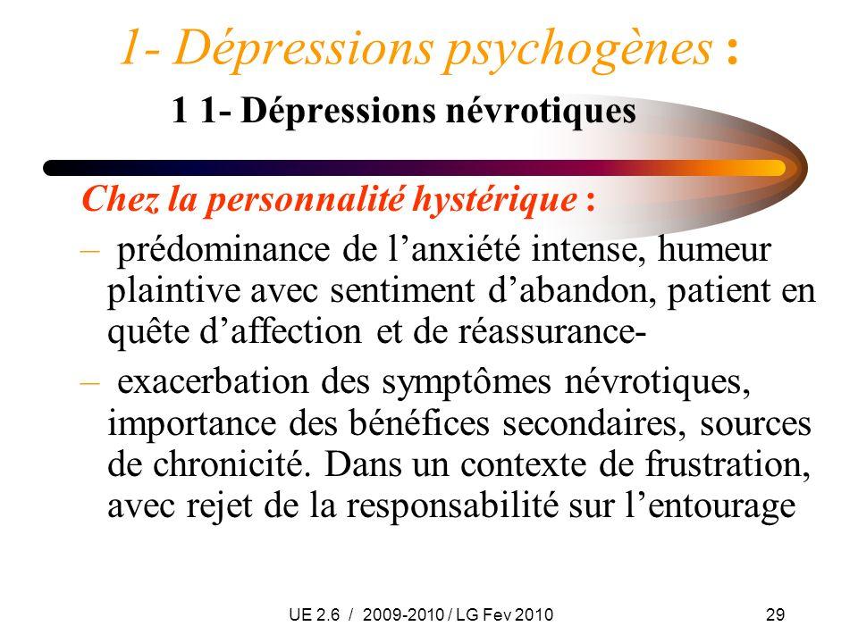 UE 2.6 / 2009-2010 / LG Fev 201029 1- Dépressions psychogènes : 1 1- Dépressions névrotiques Chez la personnalité hystérique : – prédominance de lanxi