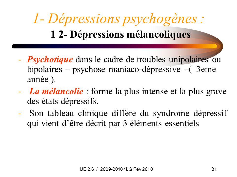 UE 2.6 / 2009-2010 / LG Fev 201031 1- Dépressions psychogènes : 1 2- Dépressions mélancoliques -Psychotique dans le cadre de troubles unipolaires ou b