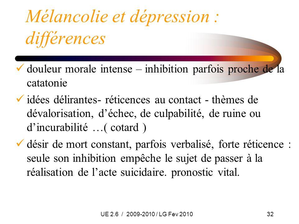 UE 2.6 / 2009-2010 / LG Fev 201032 Mélancolie et dépression : différences douleur morale intense – inhibition parfois proche de la catatonie idées dél