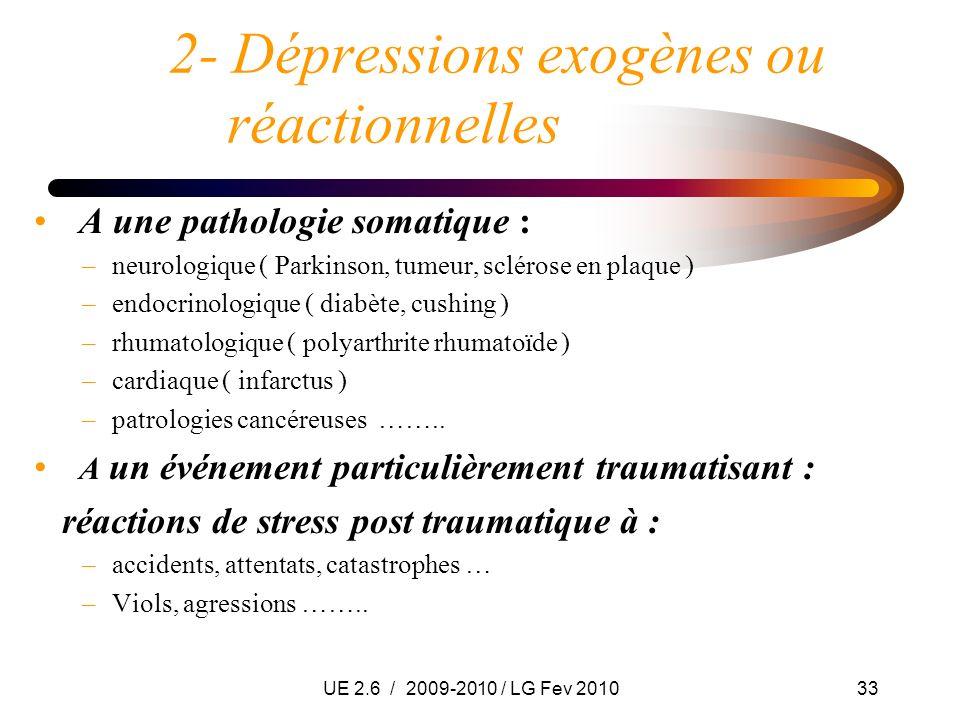UE 2.6 / 2009-2010 / LG Fev 201033 2- Dépressions exogènes ou réactionnelles A une pathologie somatique : –neurologique ( Parkinson, tumeur, sclérose
