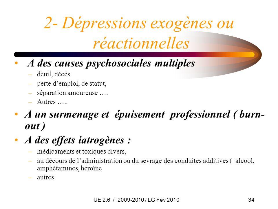 UE 2.6 / 2009-2010 / LG Fev 201034 2- Dépressions exogènes ou réactionnelles A des causes psychosociales multiples –deuil, décès –perte demploi, de st