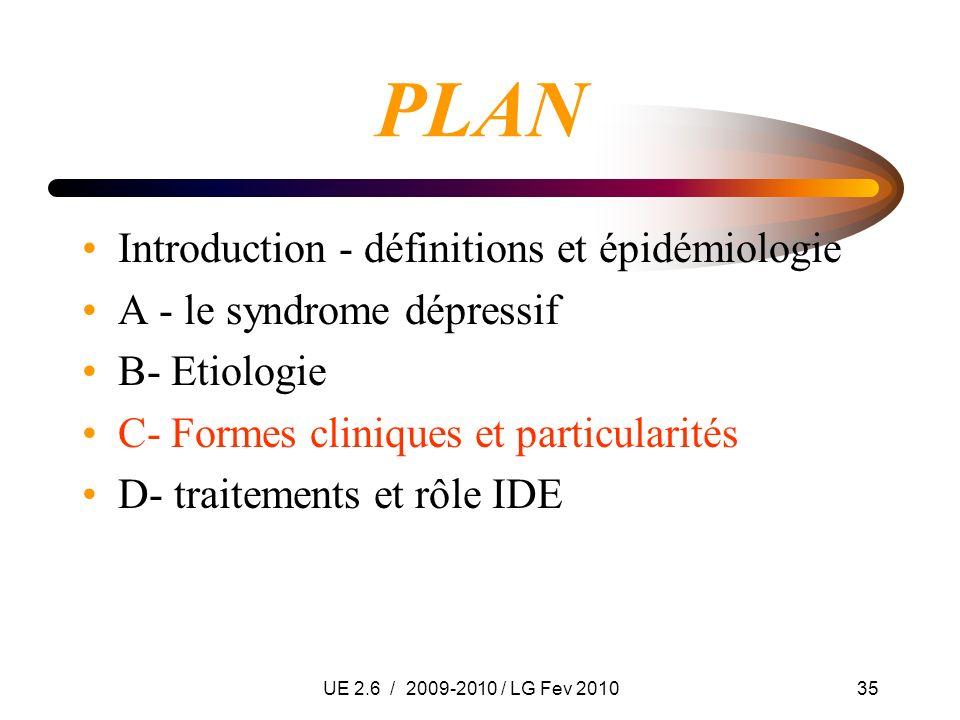 UE 2.6 / 2009-2010 / LG Fev 201035 PLAN Introduction - définitions et épidémiologie A - le syndrome dépressif B- Etiologie C- Formes cliniques et part