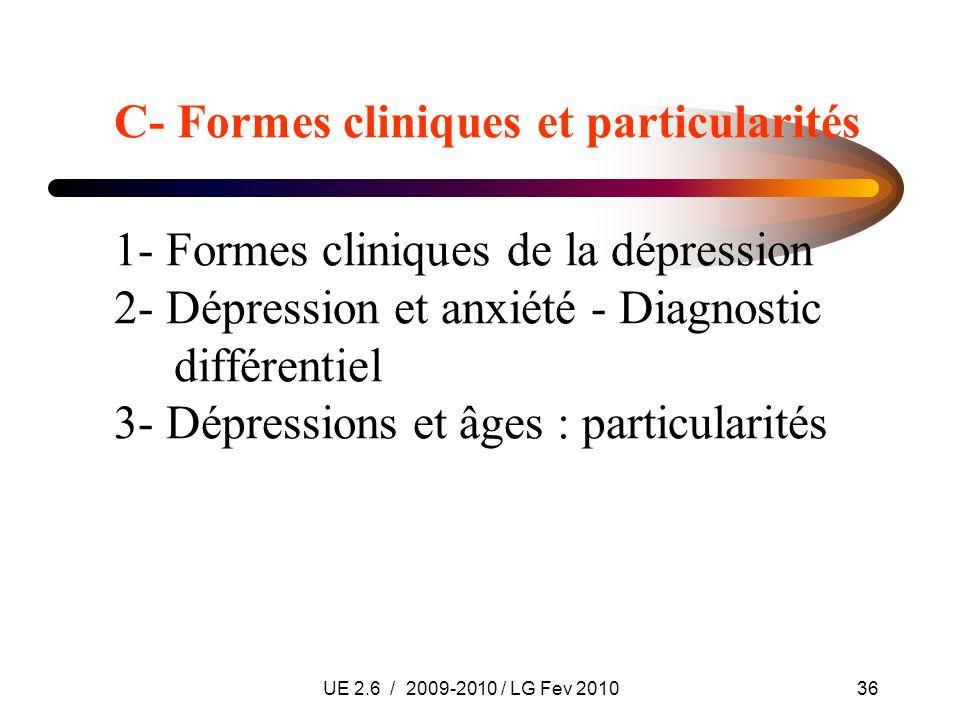 UE 2.6 / 2009-2010 / LG Fev 201036 C- Formes cliniques et particularités 1- Formes cliniques de la dépression 2- Dépression et anxiété - Diagnostic di