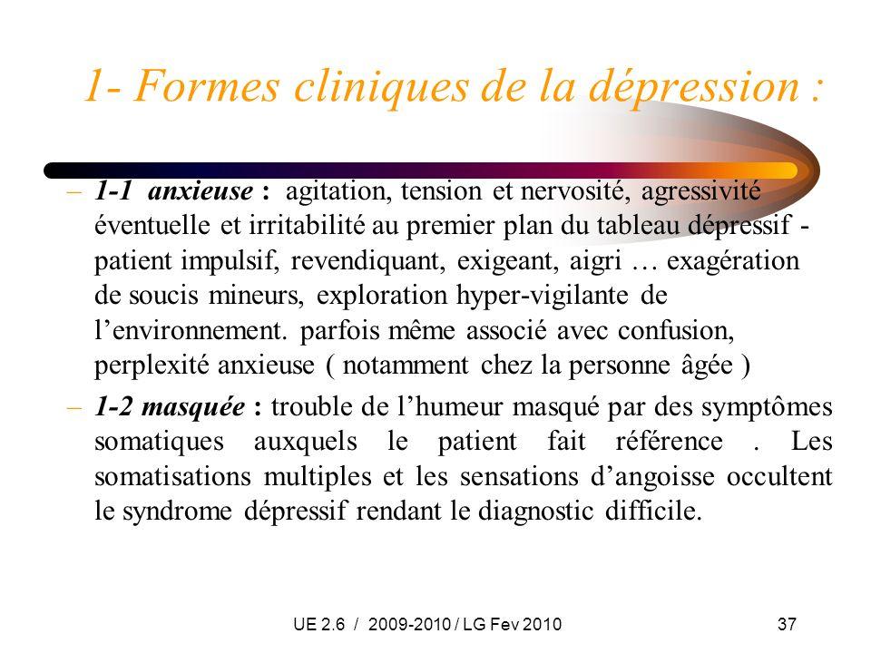UE 2.6 / 2009-2010 / LG Fev 201037 1- Formes cliniques de la dépression : –1-1 anxieuse : agitation, tension et nervosité, agressivité éventuelle et i