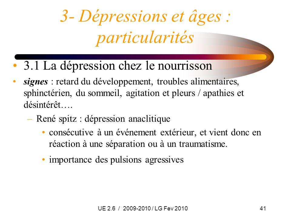 UE 2.6 / 2009-2010 / LG Fev 201041 3- Dépressions et âges : particularités 3.1 La dépression chez le nourrisson signes : retard du développement, trou
