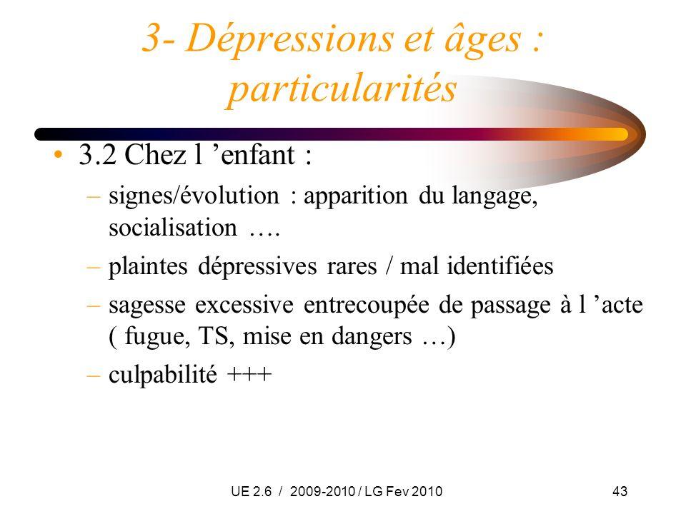 UE 2.6 / 2009-2010 / LG Fev 201043 3- Dépressions et âges : particularités 3.2 Chez l enfant : –signes/évolution : apparition du langage, socialisatio