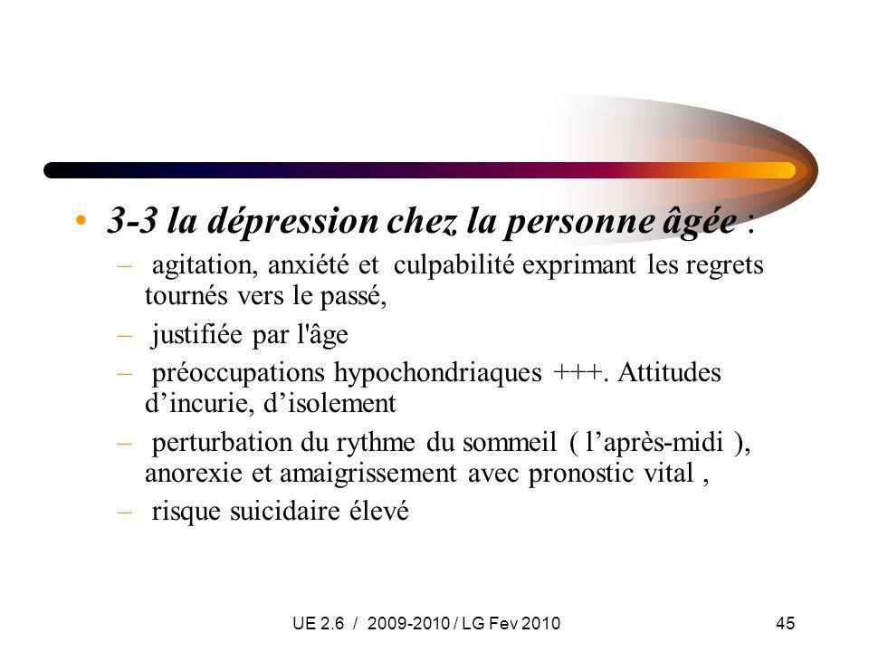 UE 2.6 / 2009-2010 / LG Fev 201045 3-3 la dépression chez la personne âgée : – agitation, anxiété et culpabilité exprimant les regrets tournés vers le