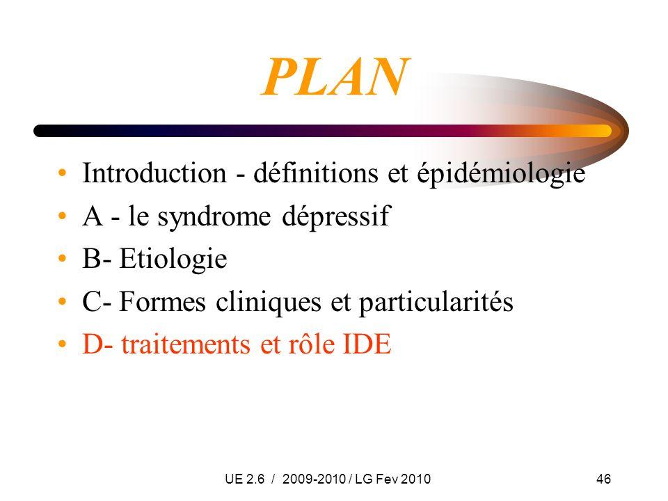 UE 2.6 / 2009-2010 / LG Fev 201046 PLAN Introduction - définitions et épidémiologie A - le syndrome dépressif B- Etiologie C- Formes cliniques et part