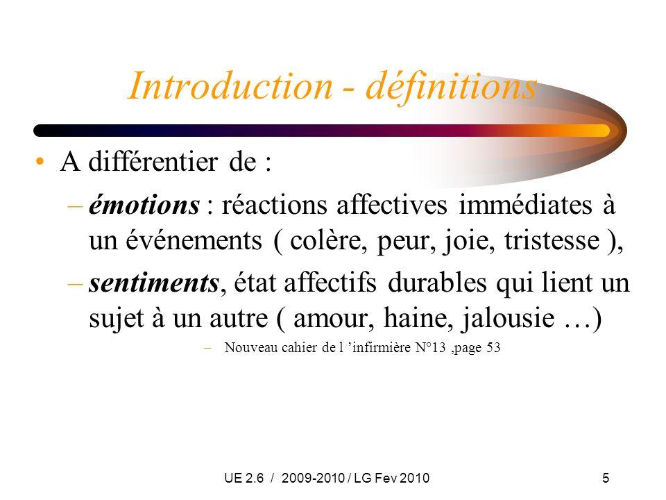 UE 2.6 / 2009-2010 / LG Fev 20105 Introduction - définitions A différentier de : –émotions : réactions affectives immédiates à un événements ( colère,