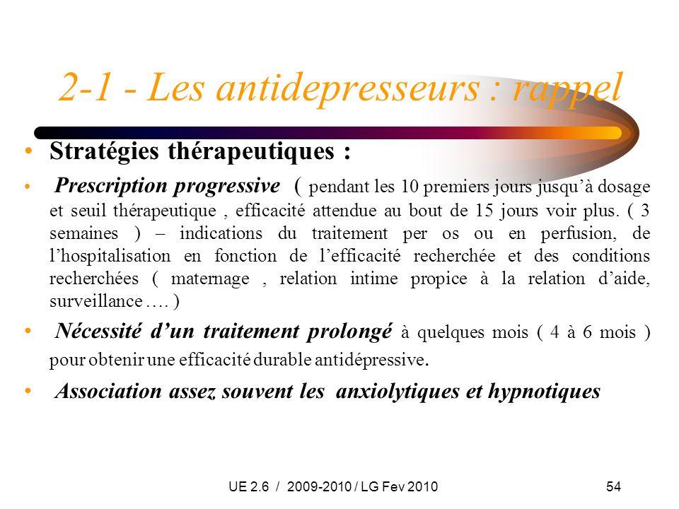 UE 2.6 / 2009-2010 / LG Fev 201054 2-1 - Les antidepresseurs : rappel Stratégies thérapeutiques : Prescription progressive ( pendant les 10 premiers j
