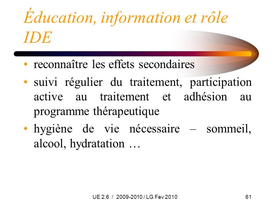UE 2.6 / 2009-2010 / LG Fev 201061 Éducation, information et rôle IDE reconnaître les effets secondaires suivi régulier du traitement, participation a