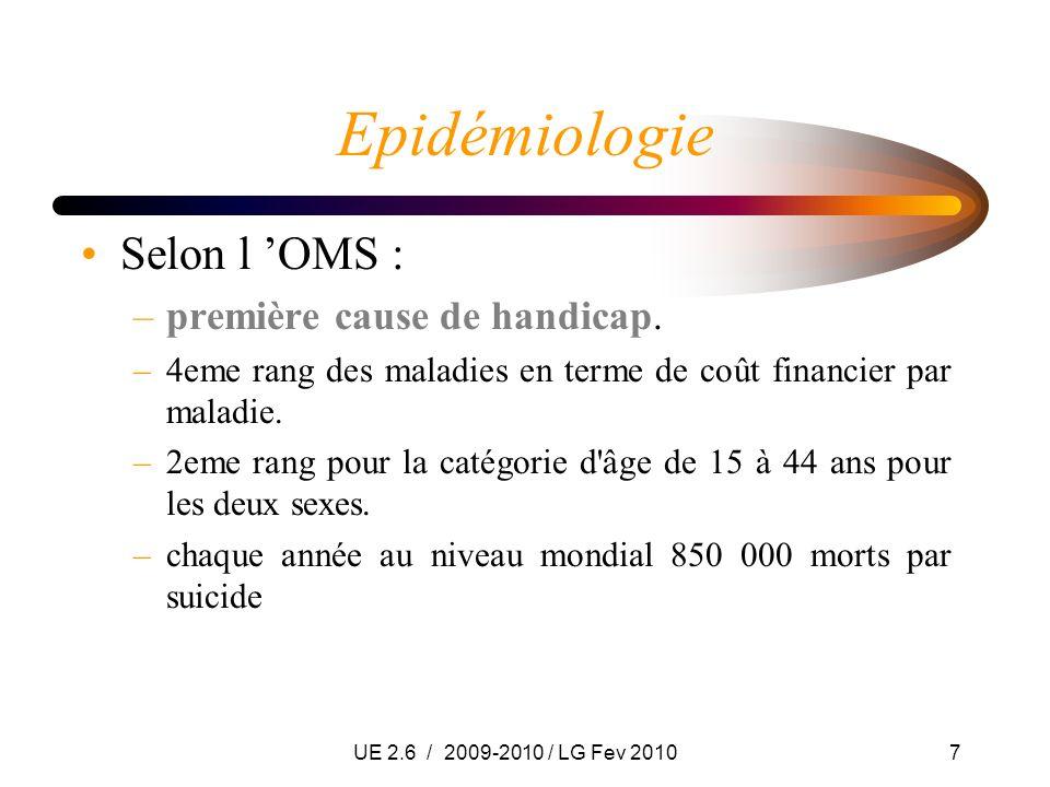 UE 2.6 / 2009-2010 / LG Fev 20107 Epidémiologie Selon l OMS : –première cause de handicap. –4eme rang des maladies en terme de coût financier par mala