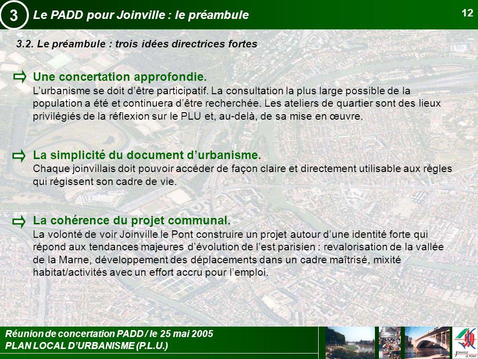 PLAN LOCAL DURBANISME (P.L.U.) Réunion de concertation PADD / le 25 mai 2005 12 Le PADD pour Joinville : le préambule 3 3.2. Le préambule : trois idée