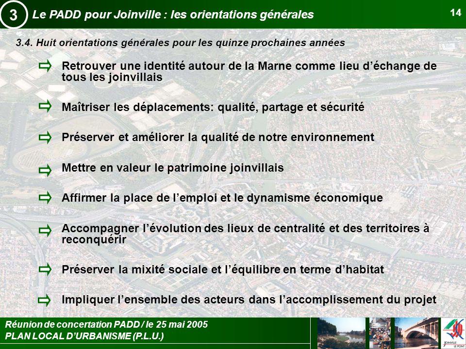 PLAN LOCAL DURBANISME (P.L.U.) Réunion de concertation PADD / le 25 mai 2005 14 Le PADD pour Joinville : les orientations générales 3 3.4. Huit orient