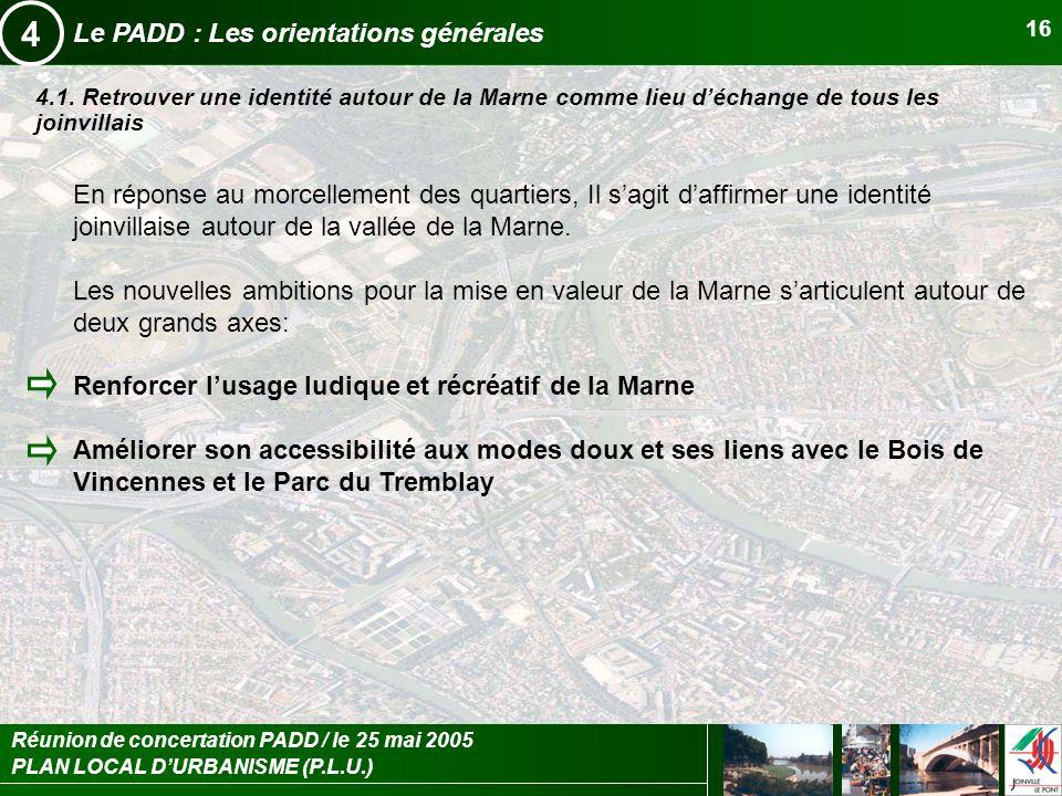 PLAN LOCAL DURBANISME (P.L.U.) Réunion de concertation PADD / le 25 mai 2005 16 Le PADD : Les orientations générales 4 4.1. Retrouver une identité aut
