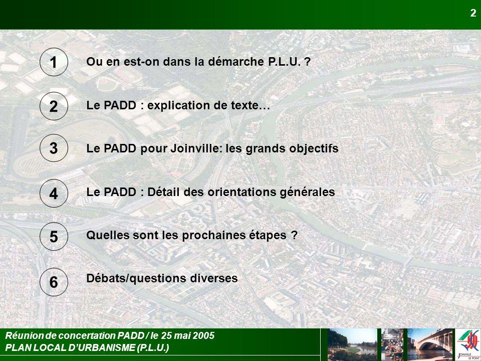PLAN LOCAL DURBANISME (P.L.U.) Réunion de concertation PADD / le 25 mai 2005 2 Ou en est-on dans la démarche P.L.U. ? Le PADD : explication de texte…
