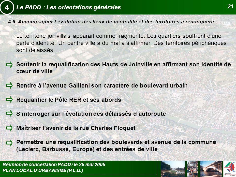 PLAN LOCAL DURBANISME (P.L.U.) Réunion de concertation PADD / le 25 mai 2005 21 Le PADD : Les orientations générales 4 4.6. Accompagner lévolution des