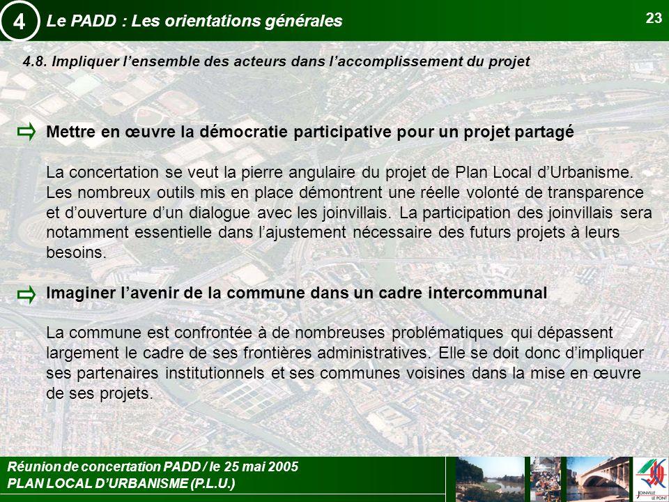 PLAN LOCAL DURBANISME (P.L.U.) Réunion de concertation PADD / le 25 mai 2005 23 Le PADD : Les orientations générales 4 4.8. Impliquer lensemble des ac