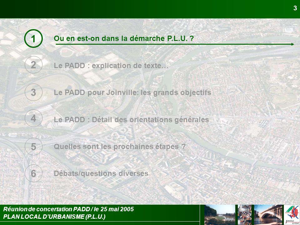 PLAN LOCAL DURBANISME (P.L.U.) Réunion de concertation PADD / le 25 mai 2005 14 Le PADD pour Joinville : les orientations générales 3 3.4.