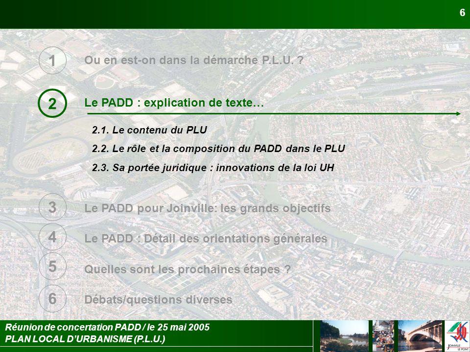 PLAN LOCAL DURBANISME (P.L.U.) Réunion de concertation PADD / le 25 mai 2005 7 Le PADD : explication de texte… 2 2.1.