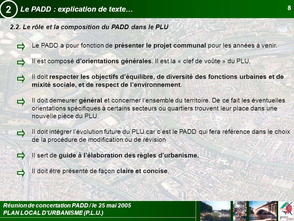 PLAN LOCAL DURBANISME (P.L.U.) Réunion de concertation PADD / le 25 mai 2005 8 Le PADD : explication de texte… 2 2.2. Le rôle et la composition du PAD