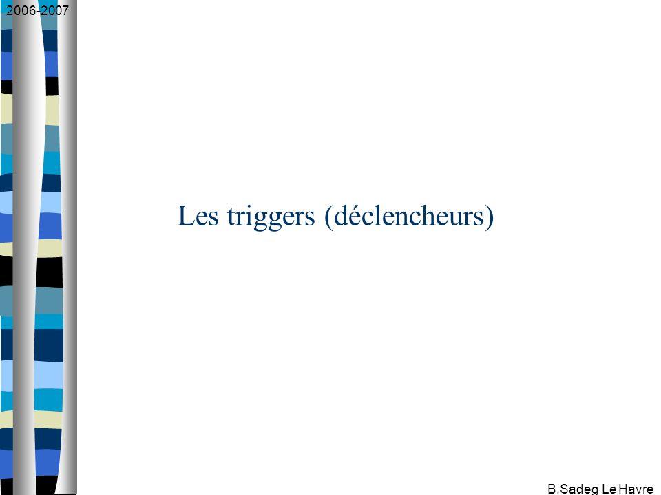 2006-2007 B.Sadeg Le Havre Les triggers (déclencheurs)
